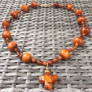 Vintage Amber Bead Necklace with Detachable Cross